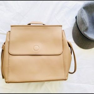 Shop Simple Essentials Bags - Contemporary Vegan Leather Backpack- Beige